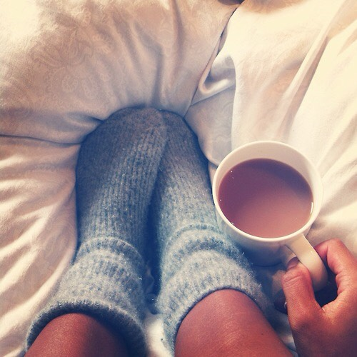 Socks, coffee, and a bed is all we really need ☕️😴