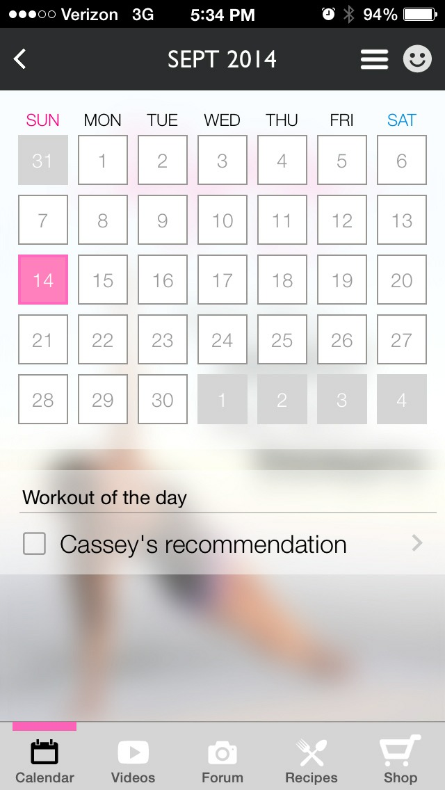 Here marks what you did every day for free or you can pay .99 cents to get a full work out plan by Casey! Completely optional