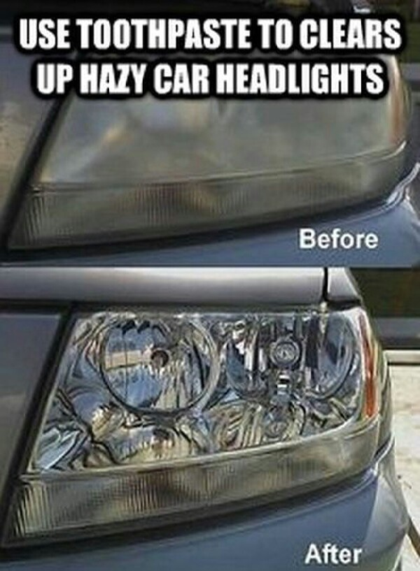 toothpaste & toothbrush clears your headlight ! :)