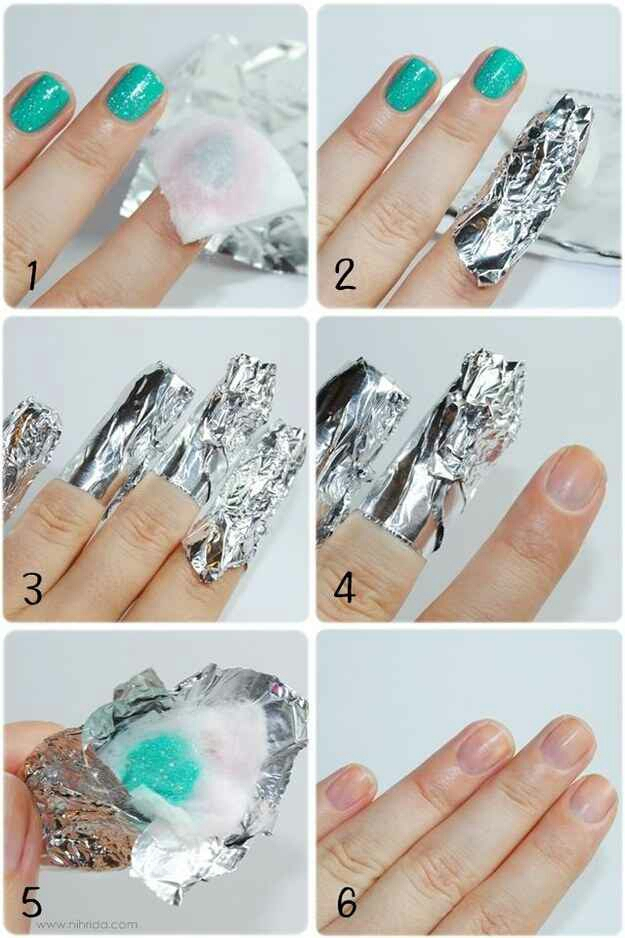 26. To remove glitter nail polish, soak a cotton pad in acetone, then place it over your nail. Wrap your nail in tin foil so the cotton pad stays in place, then repeat on the rest of your nails. Let them soak for about 10 minutes before removing the cotton.