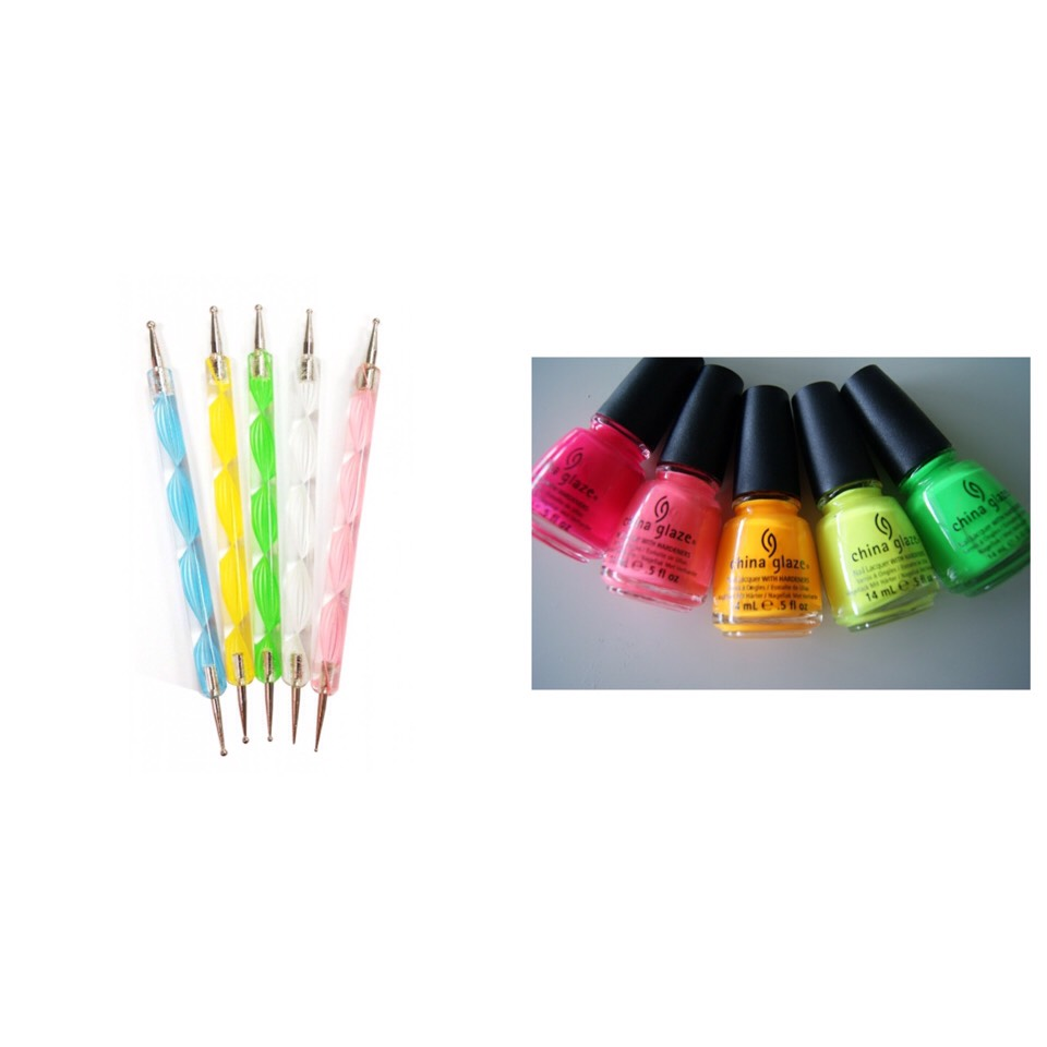 2- Use the dotting tool and make rainbow dots along the tip of the nails