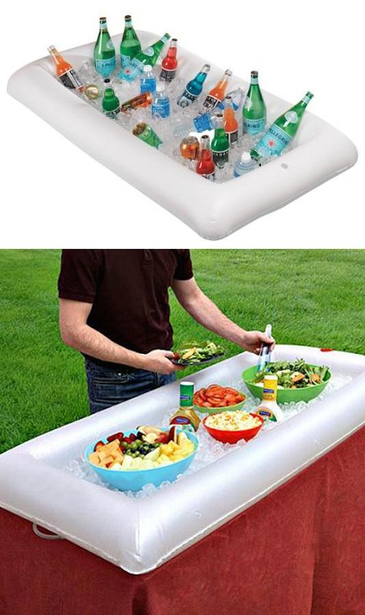 6. Inflatable Serving Bar This inflatable serving bar is made in the perfect shape to fit on top of a table, and is made with a convenient drain valve for when you're finished. http://www.amazon.com/gp/product/B0017VKR7M/