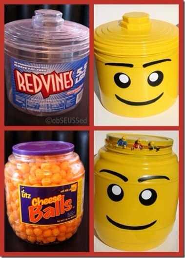 With a little paint, these recycled snack containers make the perfect lego storage.