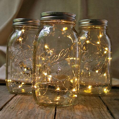 6. Nightlight: Throw some fairy lights inside a mason jar for a woodland feel.