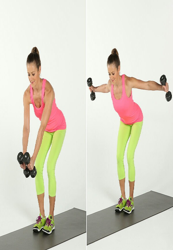 Work your shoulders, upper back, and deltoids with the bent-over lateral raise:  Hold a dumbbell in each hand, and stand with your feet hips-width distance apart. Keep a slight bend in your knees. Fold your torso forward so your back is almost parallel with the floor and your hands are under your shoulders. Draw your abs in to protect your lower back.As you exhale, lift your arms out to the side so they are in line with your shoulders. Keep a slight bend in your elbows. To get the upper back working, think of sliding your shoulder blades together. As you inhale, slowly lower the dumbbells back to the starting position. This counts as one rep.Complete three sets of 10 to 12 reps.