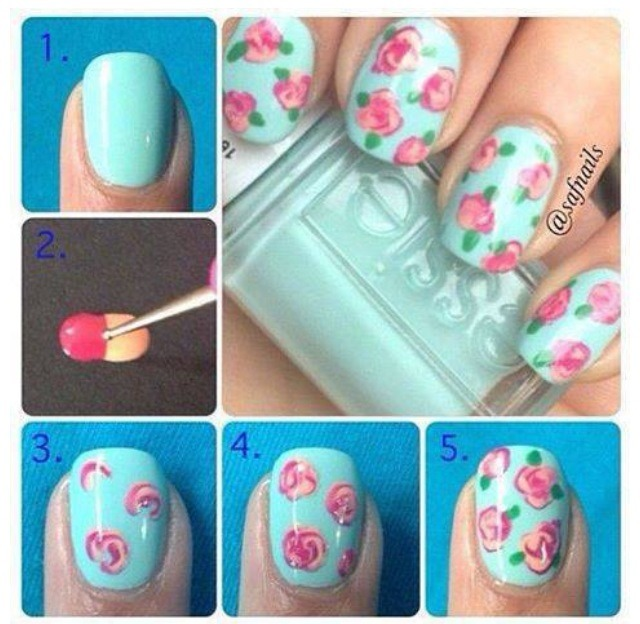 Once It Is Completely Dry Paint Your Nails With Jade Or Minty Green Nail PolishTo Draw The Beautiful Roses