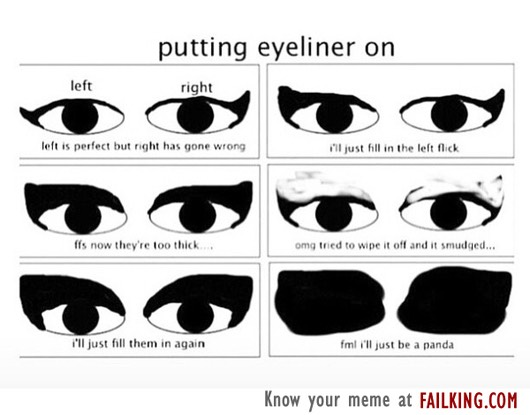 1⃣ try putting on eyeliner and probably fail because if you're reading this you probably suck at liner (don't worry I suck at it too 🙋)