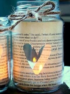 Cover jar with magazine paper with cut out shapes. Place candle inside:)