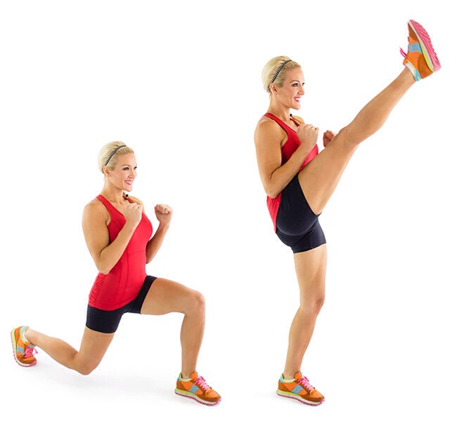 25 reverse lunges with kicks