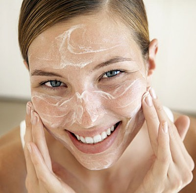 Then,use your favorite cleanser to wash your face .