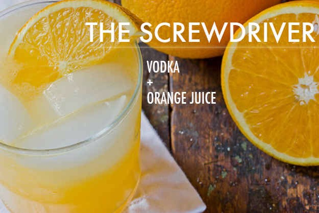 Top a shot or two of vodka with orange juice and garnish with an orange slice. You can add a little seltzer if you're enjoying this drink at brunch .