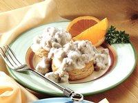 Tummy-warming biscuits and gravy in less than 30 minutes.