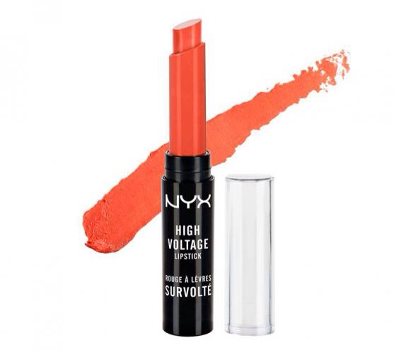 NYX High Voltage Lipstick in Free Spirit This saturated stick lays down lush color in a single swipe. The buttery formula glides on easily and imparts a subtle sheen that's never too shiny. Try it in a vibrant orange to brighten up your look for warmer months ahead.