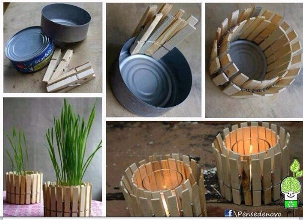 Made from an old tuna can and clothes pins