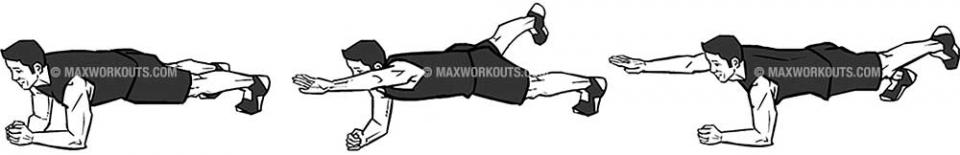 Next, raise your left arm out straight in front of you and raise your right leg straight out behind you.  Hold this position for 5 seconds.  Now switch sides.  Repeat 5 times.