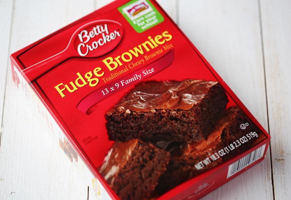 Start with a box of Betty Crocker Fudge Brownies.