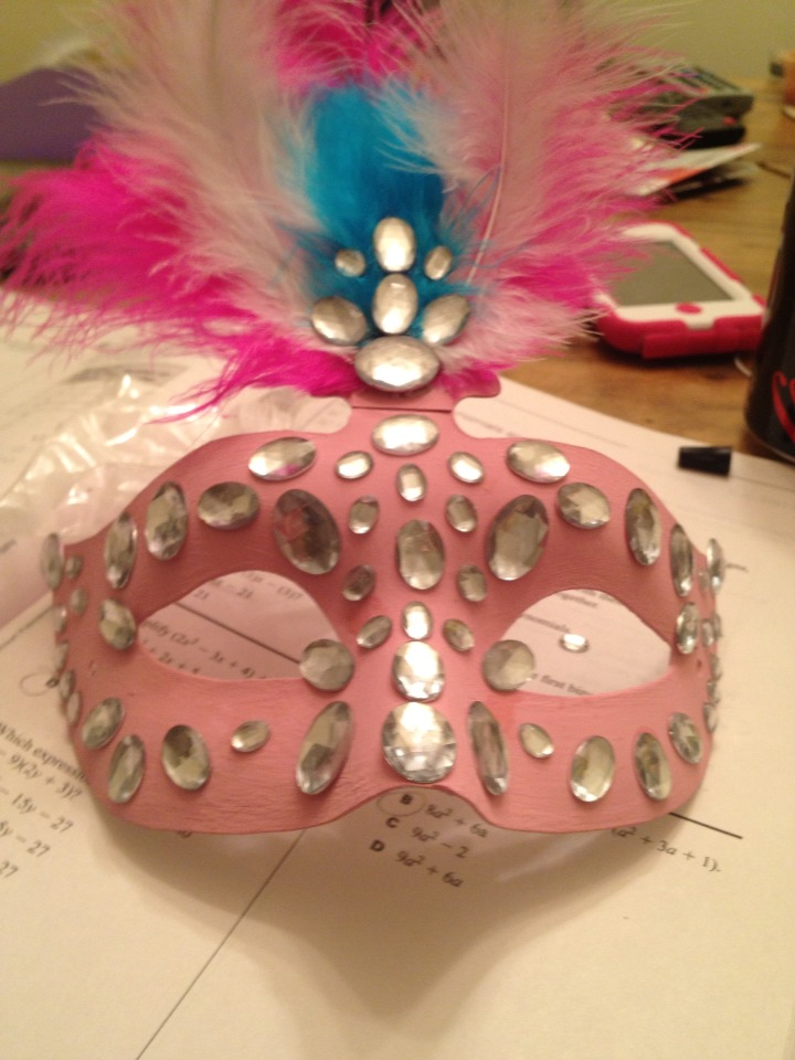 Continue with adding as many rhinestones as you want. I chose to cover the whole mask!