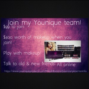 Join my Younique makeup team! All online so much fun! Message me if you have any questions! https://www.youniqueproducts.com/MileahRoberts/business/presenterinfo