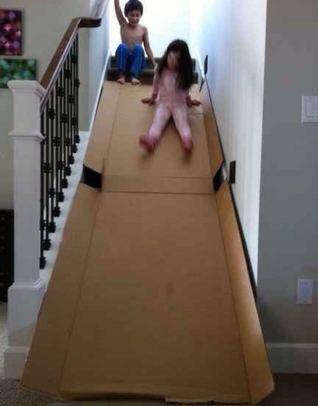 Make your own slide with a cardboard box.