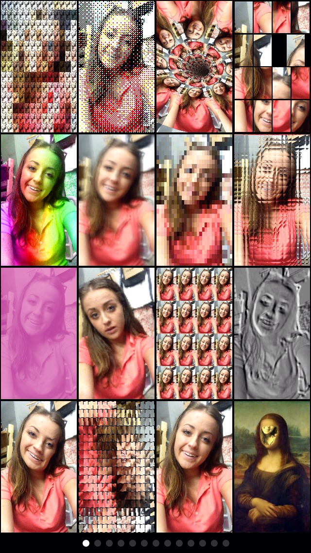MEGAPHOTO (free)  This app is really fun and you can also make some trippy videos with it, it has lots of pages with random fun stuff on it like this one ^