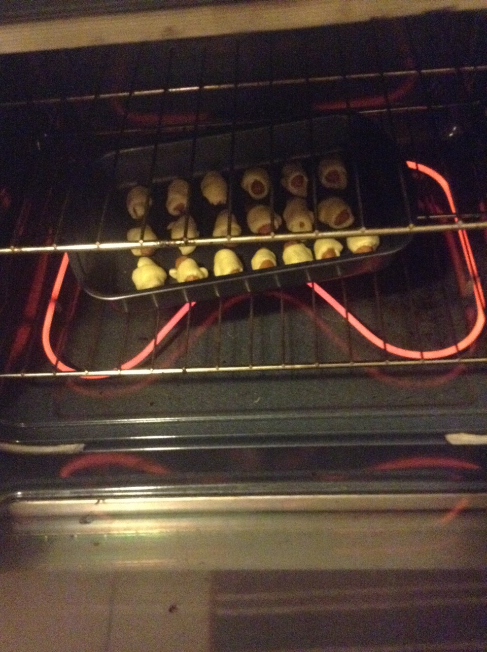 For every 15 pigs in a blanket cook for 15-20 min.