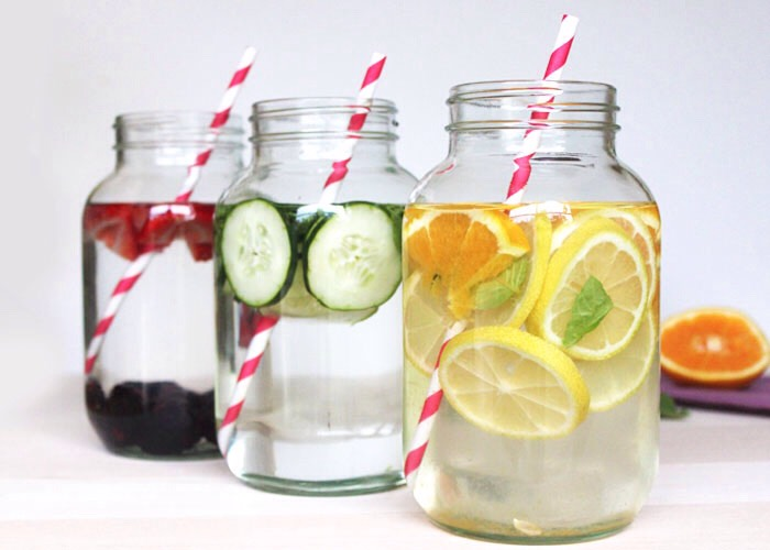 Infuse your water! Give it flavor! We might not like water tasting like nothing, so make it fun. Add strawberries, lemon, mint or even chopped raspberries.  Adding fruit and flavors will help make it is to gulp down and they add health benefits to the body.