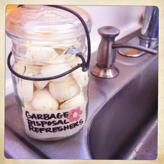 Place the dried garbage disposal refreshers in a sealable container. When your sink isn't smelling fresh, simply place a few in the disposal, and flip the switch.