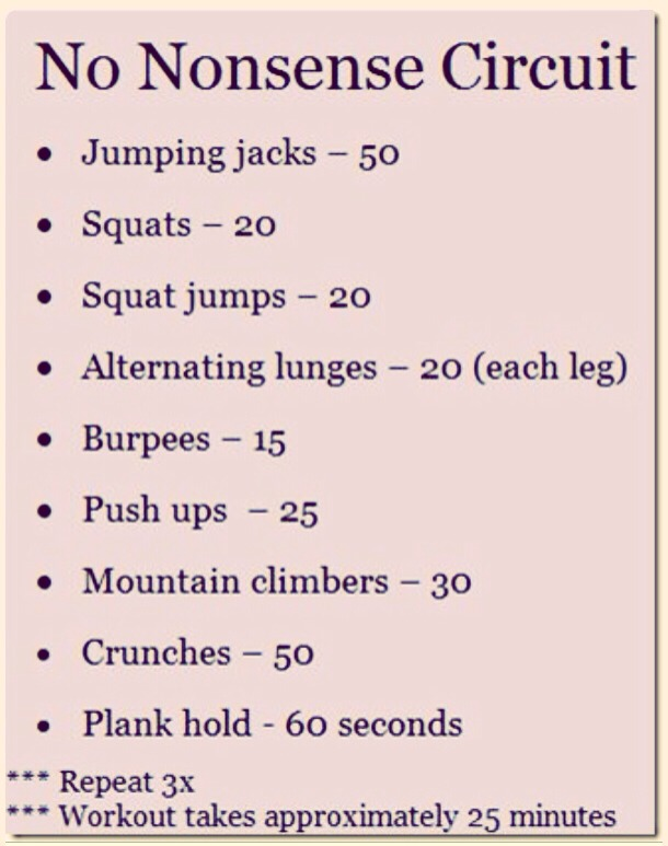 Just repeat 3 times! Quick circuit! No excuses and stay strong, not skinny! :)