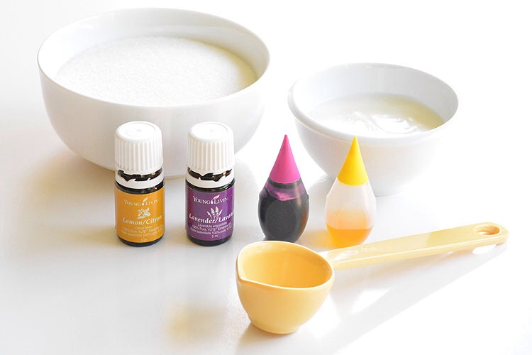 Ingredients •1 cup granulated sugar •4 Tablespoons organic coconut oil •10 to 15 drops essential oils (lemon and/or lavender) •5 drops liquid food colouring (purple and/or yellow)
