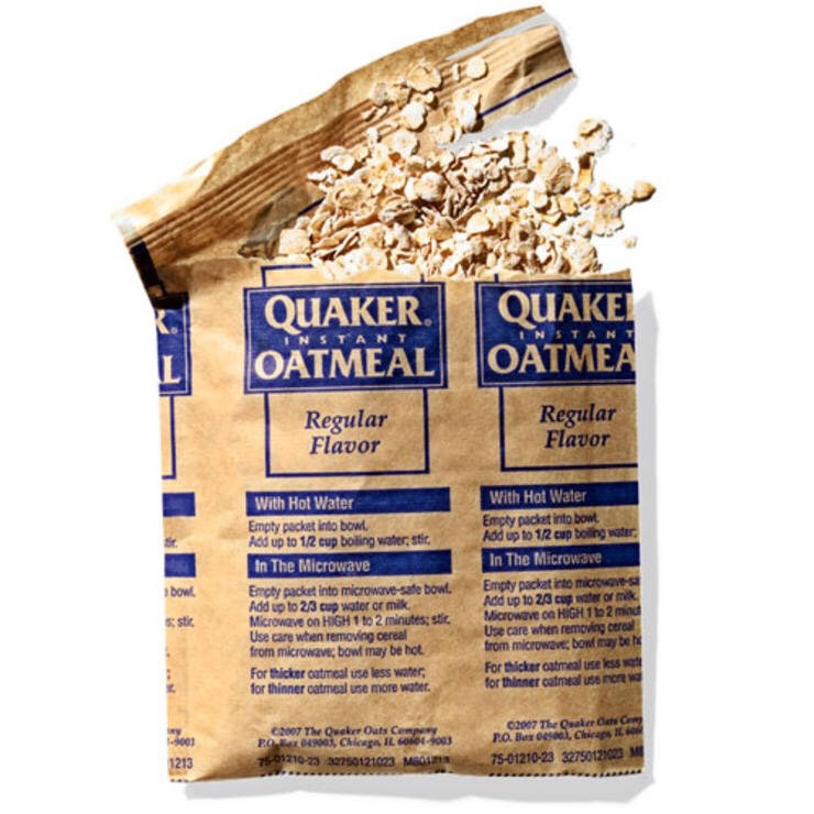 QUAKER INSTANT OATMEAL (REGULAR FLAVOR) This speedy fiber- and protein-packed breakfast also makes for a warm, filling snack.