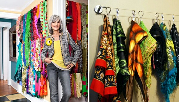 Use curtain poles to hang your collection of scarves on.