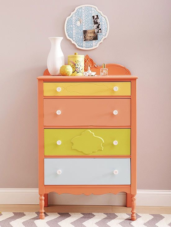 If your room is looking a little drab, or you're just tired of the same old style you've had for years, a great and cheap way to spice things up is to color block your dresser! With just a few different paint colors and some creative license, you can turn any dresser into a marvel of modern design.