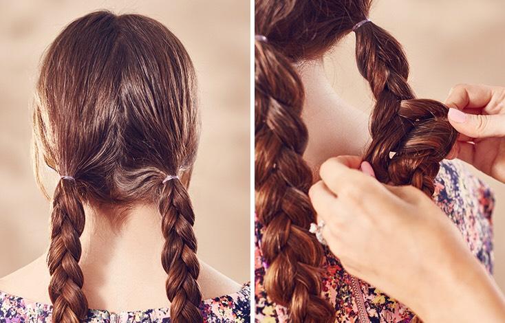 Braid your hair into 2 simple braids 🙂😀
