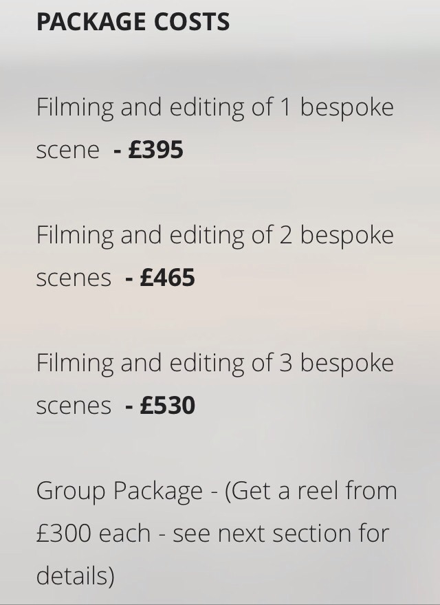 But Showreels can cost an absolute fortune!! These prices are just the initial scenes alone...