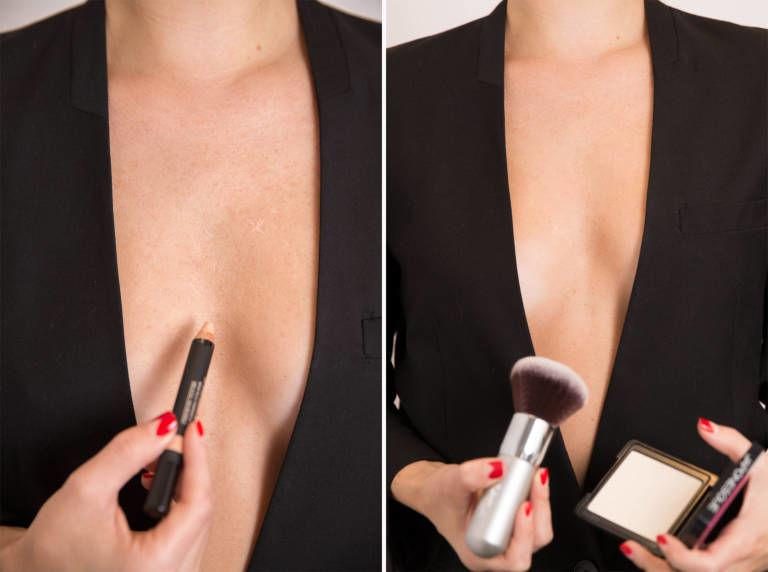 If you have a pimple on your chest or back that you need to conceal, cover the trouble spots with a concealer that matches your skin tone exactly, and then top it with a translucent powder.