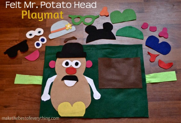 This felt Mr. Potato Head play mat is actually a Christmas gift for my nephew Kyle.