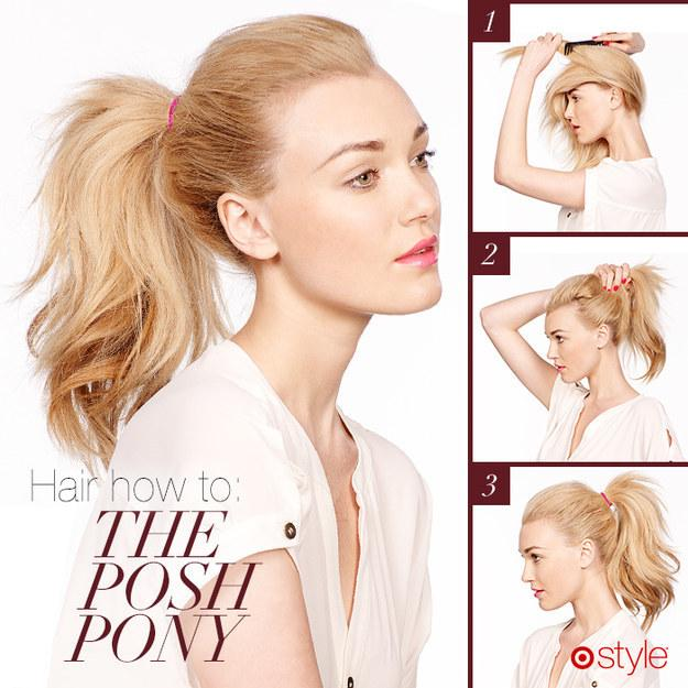 25. Use a comb to fluff up the middle and back layers before pulling your hair into the ponytail.