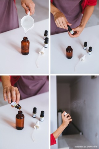 Fill your spray bottle with water from the jug (or straight from the tap). Add 60 drops of Orange Sweet Essential Oil, 10 drops of Cinnamon Bark Oil, and 20 drops of Silver Fir Oil. Put the cap on the bottle and gently shake to mix the oils in.