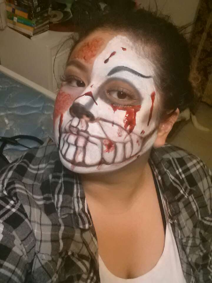 I placed the fake blood in random places on the skull side