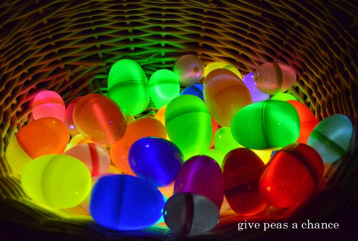 Paint Easter eggs with glow in the dark paint