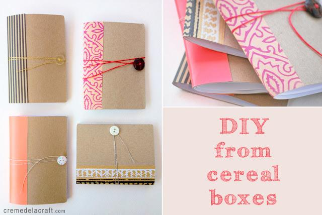 To make:      Cut the cereal box to create your cover.     Fold it blank side out.     Sew a button to the front and leave a 20″ piece hanging. This will be the thread that you wrap around the notebook to close it.   Glue a blank piece of paper to the inside of the box to cover the images.