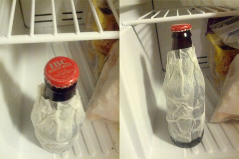 Wrap a wet paper towel around your beer bottle & put it in the freezer for 2min!