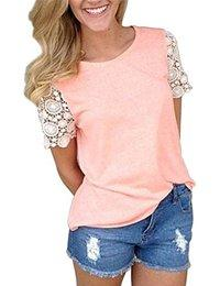 MIOIM Womens Summer Casual Short Sleeve Shirt Tops Blouse Ladies Lace Casual Top Tank