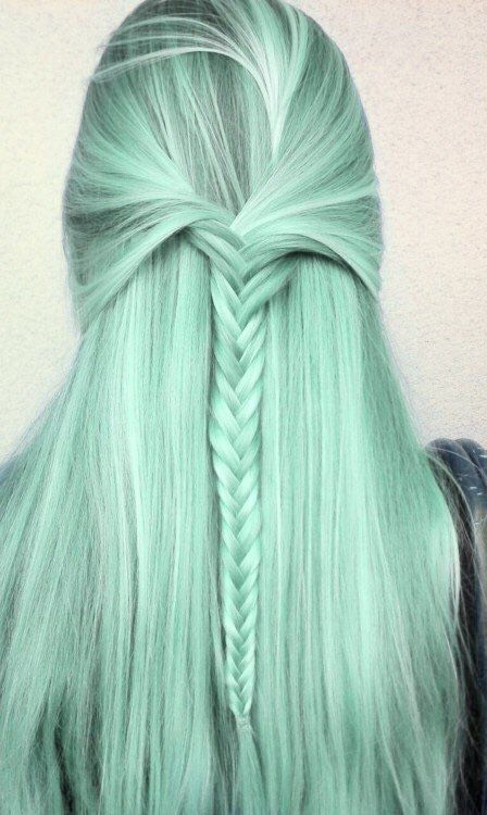 4. Green Bleached Hair with Braids