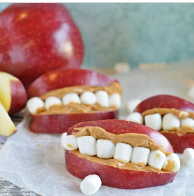 Apples, marshmallows and peanut butter
