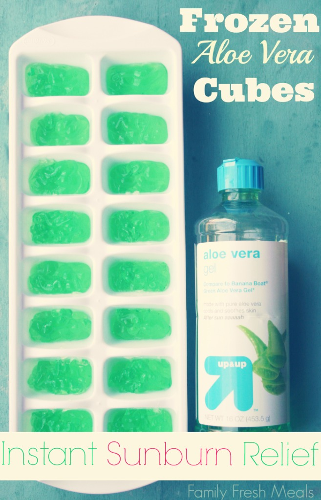 Pour the aloe Vera gel into the ice tray before you go out in case you stay in to sun for too long  Then once you come back it should be frozen  If you come back with a nasty sunburn then you can take a cube out and message it onto your sunburn and it will sooth and moisturize your nasty sunburn