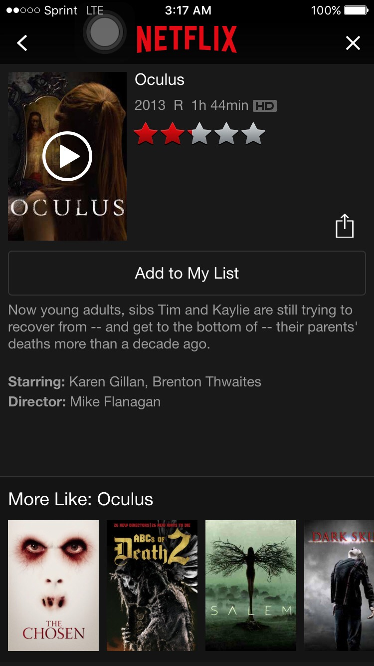 Oculus is a scary movie about two siblings getting together to remember what they went through their parents deaths.