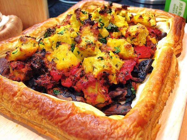 Open Vegetable Tart with Crumbed Potato Topping - 2-4