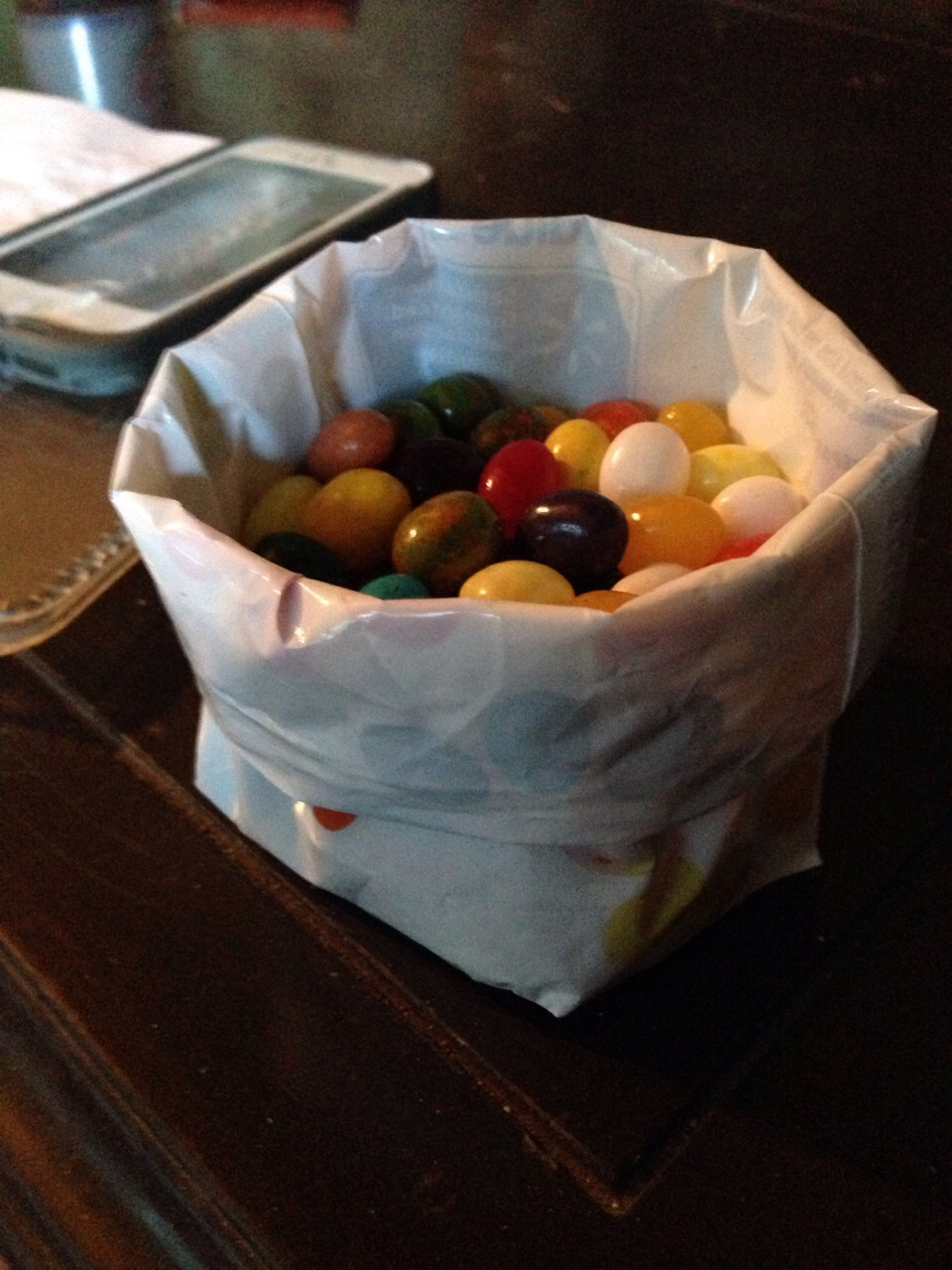 Role down the sides if the bag to make an easy access bowl