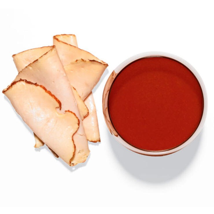 1 C VEGETABLE JUICE, SUCH AS V8, AND 2 OZ OSCAR MAYER OVEN-ROASTED TURKEY BREAST An antioxidant and protein-rich hunger-buster.